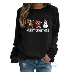Franterd Merry Christmas Sweatshirts for Women Graphic Santa T-Shirt Long Sleeve Loose Xmas Casual Blouse Pullover